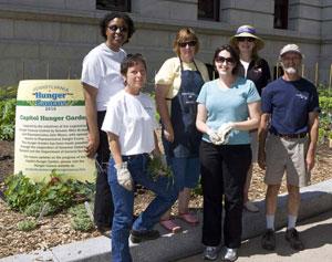 Volunteers at the Hunger Garden
